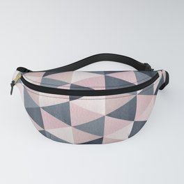 Watercolour Paynes Grey & Blush Pink Triangle Pattern Fanny Pack