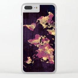 world map 86 red yellow Clear iPhone Case