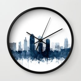 Kansas City Skyline Blue Watercolor by Zouzounio Art Wall Clock