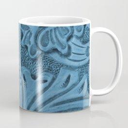 Cornflower Blue Tooled Leather Coffee Mug