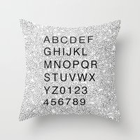 helvetica Throw Pillows featuring Helvetica Jumble by SpareType
