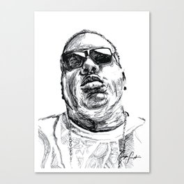 Digital Drawing 33 - Notorious B.I.G. Black and White Canvas Print