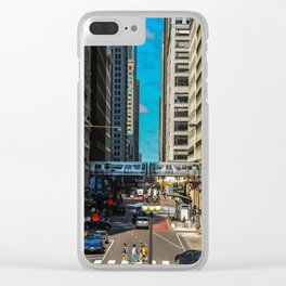Cartoony Downtown Chicago Clear iPhone Case