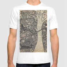 Doodle Bird MEDIUM Mens Fitted Tee White