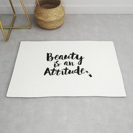 Beauty is An Attitude black and white monochrome typography poster design home decor bedroom wall Rug