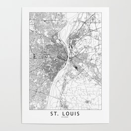 St. Louis White Map Poster