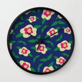 Floral Pattern in Deep Blue Wall Clock