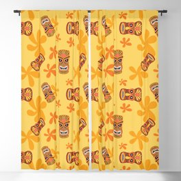 Retro Summer Tiki Room Blackout Curtain