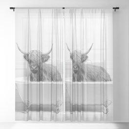 Highland Cow in a Bathtub, Cow Taking a Bath, Cow Bathing, Whimsy Animal Art Print By Synplus Sheer Curtain