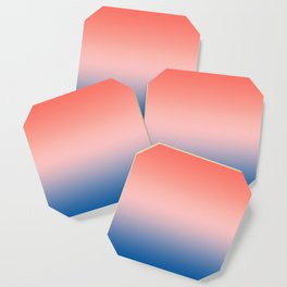 Living Coral Millennial Pink Princess Blue Ombre Pattern Trendy Colors of Year 2019 Coaster