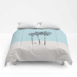 Palm trees on a solitary beach Comforters
