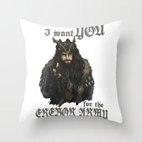 thorin Throw Pillows featuring Uncle Thorin by ScottyTheCat