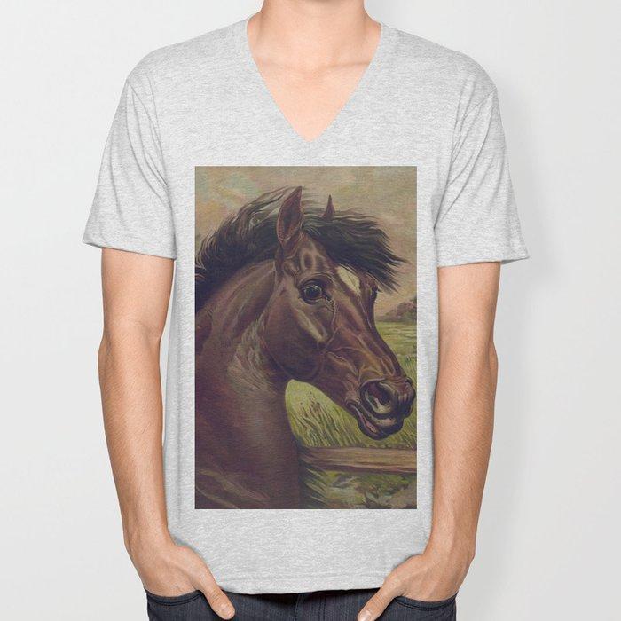 Vintage Horse Illustration (1893) Unisex V-Neck