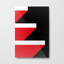 Red and White Parallelepipeds Floating in a very deep black space Metal Print