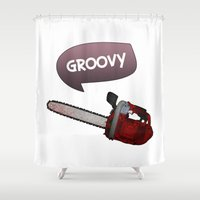 evil dead Shower Curtains featuring Evil dead Groovy by Komrod