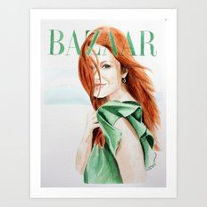 Harper's Bazaar Magazine Cover. Julianne Moore. Fashion Illustration Art Print