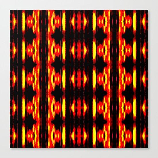 Orange Yellow Black Abstract Fire Pattern Canvas Print