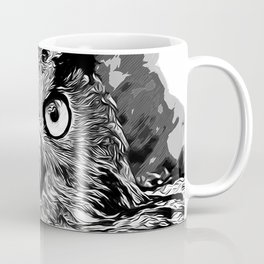 owl strix bird v2 vector art black white Coffee Mug