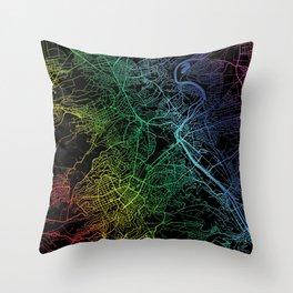 Stuttgart Germany Rainbow City Map Throw Pillow