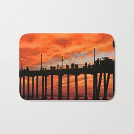 Red Skies At Night ~ Sunset HB Pier Bath Mat