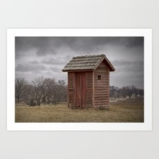 Vintage Outhouse behind a Historical Country School in Southwest Michigan Art Print