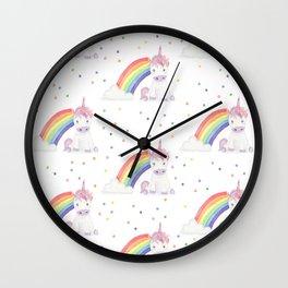Kawaii Unicorn + Rainbow Wall Clock