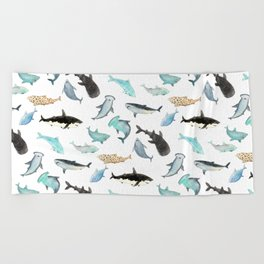 Sharks everywhere! Beach Towel