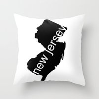 new jersey Throw Pillows featuring New Jersey by Isabel Moreno-Garcia