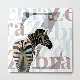 Z is for Zebra! Metal Print