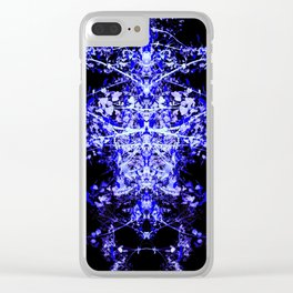 Neon Mirrored Trees 3 Clear iPhone Case