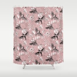 Flowers and Flight in Monochrome Rose Pink Shower Curtain