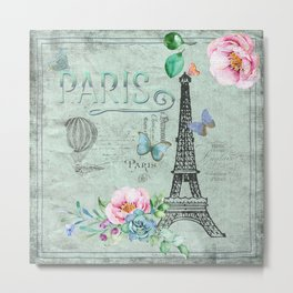 Paris - my love - France Eiffeltower Nostalgy - French Vintage Metal Print