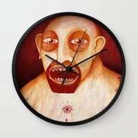 tattoos Wall Clocks featuring Los tattoos del sombra by Juan Weiss