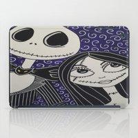 jack skellington iPad Cases featuring Jack Skellington and Sally by KittyOG
