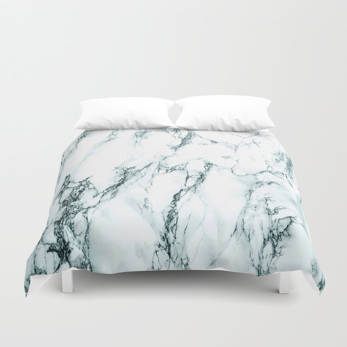 Green Marble Look Duvet Cover