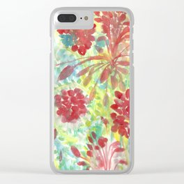 Ixora and Ferns - Watercolor Clear iPhone Case