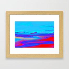 """Pixel Beach"" (Ice Blue/Red) Digital Painting // Fine Art Print Framed Art Print"