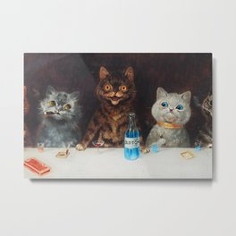 Old Tom Cat Bachelor Party Humorous Cat Print Metal Print
