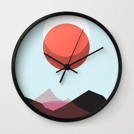 Minimalist Red Moon Lunar Eclipse with Mountains Wall Clock