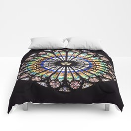 Stained glass cathedral rosette Comforters