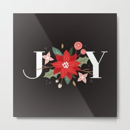 Joy Flourish - Slate Metal Print