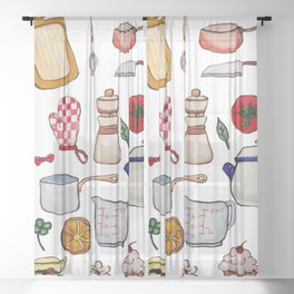 Watercolor Kitchen Utensils Sheer Curtain