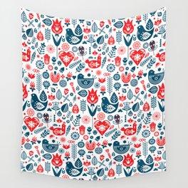 Scandinavian Red Blue Wall Tapestry