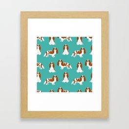 Cavalier King Charles Spaniel blenheim coat dog breed spaniels pet lover gifts Framed Art Print