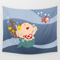 little mermaid Wall Tapestries featuring little mermaid by Alapapaju