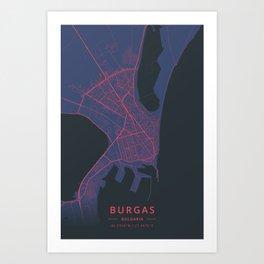 Burgas, Bulgaria - Neon Art Print