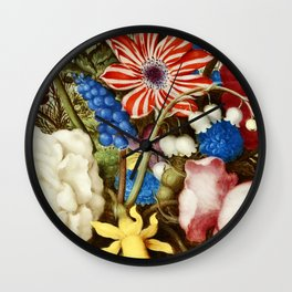 Colorful Still Life with Flowers and Insect Wall Clock