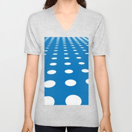 WHITE DOTS ON A BLUE BACKGROUND Abstract Art Unisex V-Neck