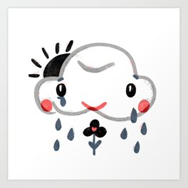 Happy Sad Cloud - Cute Kawaii Naive Nature Illustration about Emotions and Feelings Art Print