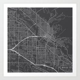 Boise Map, USA - Gray Art Print
